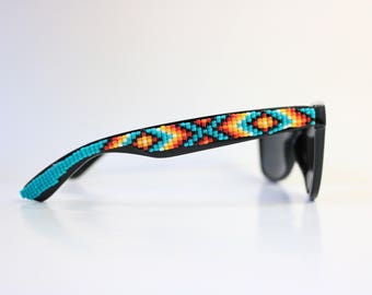 Black Frame Hand Beaded Sunglasses - Native American Handcrafted