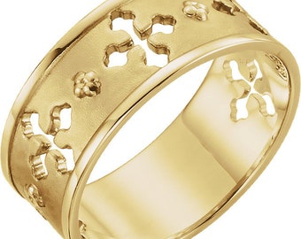 14K Yellow Gold Pierced Cross Ring Band Religious Jewelry