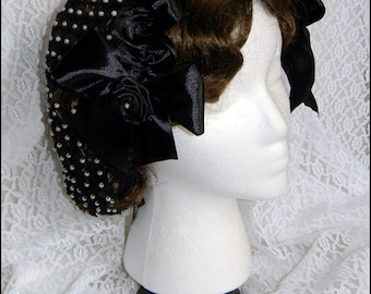 1800's Civil War Victorian Black Snood with Pearls and Roses Hair Net Handmade 100% cotton