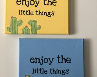 Enjoy The Little Things Canvas Painting (Yellow)