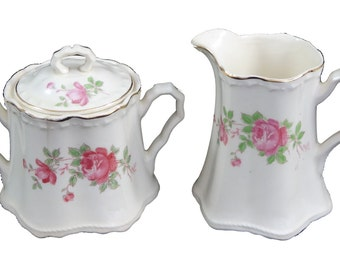 Sugar Bowl and Creamer in the Wild Rose pattern by Crooksville China Co.