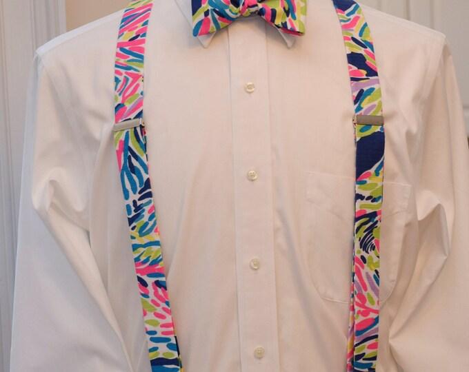 Men's Suspenders & Bow Tie set, Lilly indigo Palm Reader, clip on suspenders, bow tie set, wedding party attire, prom style, groomsmen gift
