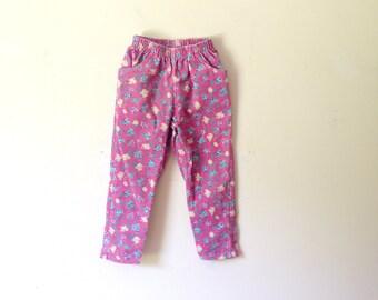 Vintage Pink Corduroy Floral Print Pants (Girls Size 5)