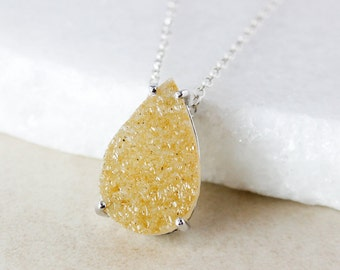 50% OFF SALE - Honey Teardrop Druzy Necklace - Choose Your Druzy Pendant - 925 Sterling Silver