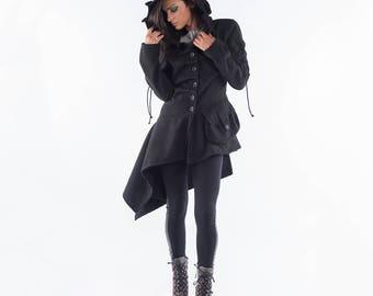 Winter Coat/ Extravagant Coat/ Hooded Coat/ Woman Coat/ Long Sleeve Coat/ Asymmetrical Coat/ Casual Coat/ Warm Coat/ Friends Fashion