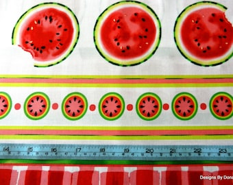 "One Half Yard Cut Quilt Fabric, Watermelon Round Slices on White, ""Mad for Melon"", Maria Kalinowski, Kanvas, Sewing-Craft-Quilting Supplies"