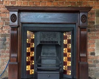 Victorian fireplace with solid oak fire surround