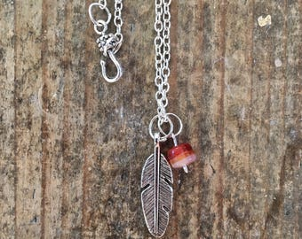 Feather & Bead Silver Charm Necklace
