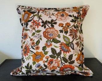 Autumn Flowers Vintage Fabric 16x16 Pillow Cover