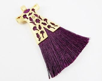 Plum Purple Silk Thread Turkish Caftan Tassel Pendant - 22k Matte Gold Plated - 1PC