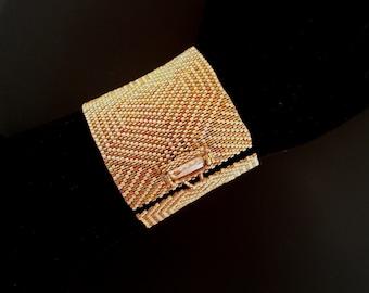 Bronze Metallic Earth Batik Luster and Semi Matte Gold Cuff Bracelet with Swarovski Crystal Button Clasp. Geometric Peyote Bracelet S-341