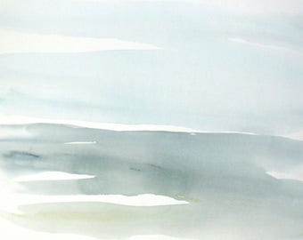 Original Watercolor Abstract Landscape painting, Large Contemporary Landscape Watercolor, Modern landscape Watercolor blue abstract.