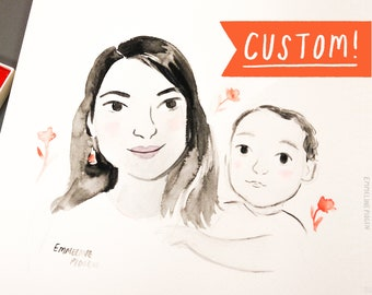 Family Portrait - Original Watercolour Portrait Illustration By Emmeline Pidgen. Bespoke For Mother's Day, Father's Day, or a special gift!
