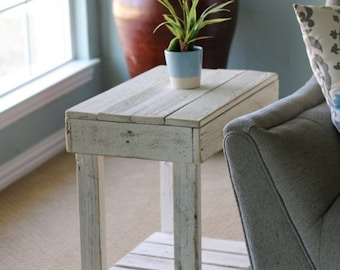 Sale White Slatted End Table