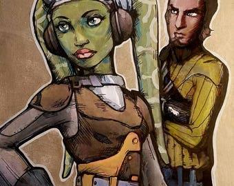Hera Syndulla and Kanan Jarrus - Star Wars Rebels inspired Jedi painting - framed art
