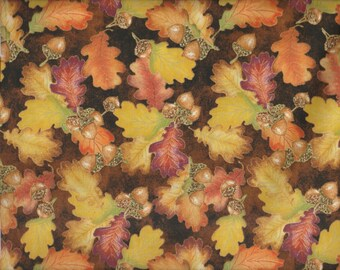 Harvest Bounty - Per Yd - Quilting Treasures - Beautiful Fall fabric - Leaves and Acorns