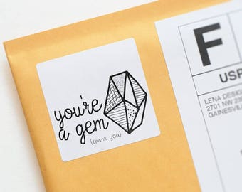 Youre a Gem - Thank You Stickers - Jewelry Packaging - Business Thank You - Product Packaging Stickers - Thank You Label - Valentine Sticker