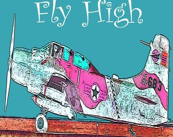 Nursery Kids Decor Aviation, Girly Planes in Pink, Turquoise Fly High, Dream Big 8x8 Set of Two