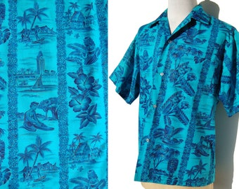 Vintage Aloha Shirt Blue Turquoise Hawaiian Cotton Novelty Print L XL