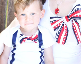 Mommy and Me 4th of July, Matching Patriotic Bow Tank Top & Bow Tie and Suspender Bodysuit.  Red White and Blue, Stars and Stripes, Summer