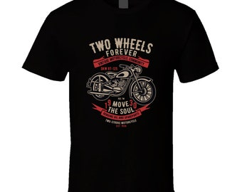 Two Wheels Forever Vintage Motorcycle Community T Shirt