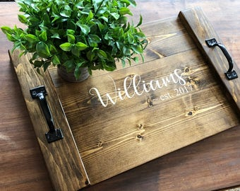 Rustic personalized wooden tray