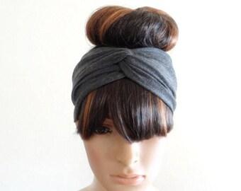 Dark Grey Headband. Dark Grey Head Wrap. Twist Head Wrap. Stretch Twist Headband. Soft Cotton Spandex Headband.