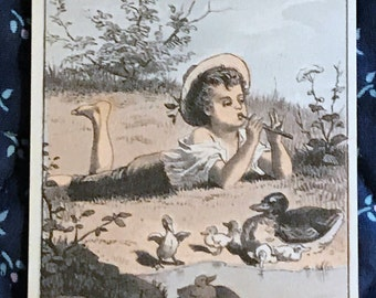 Victorian Trade Card 1800s, Little Boy Playing Flute near Pond with Ducks, Frank Millers Crown Dressing, Victorian Collectible