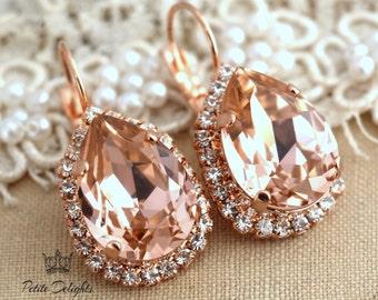 Blush Earrings, Morganite Drop Earrings, Swarovski Blush Drop earrings, Blush Teardrop earrings, Blush Dangle earrings ,Bridesmaids Earrings