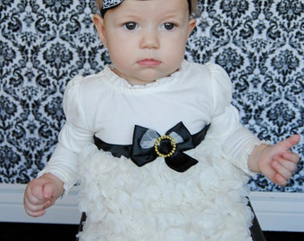 Black Bow Headband, Black with White & Silver Swirls Bow, Baby Hair Bow Headband, Baby Girls Hair Accessories. Baby Hair Accessories