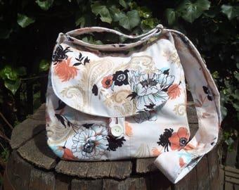 Floral corduroy shoulder bag,buttoned bag