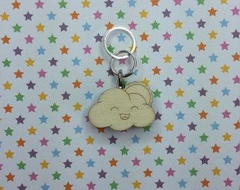 Sunny Side wooden stitch marker - knitting notions - charm