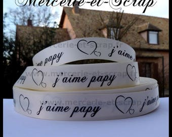 Satin ribbon I love Grandpa 22mm the meter beige heart 24