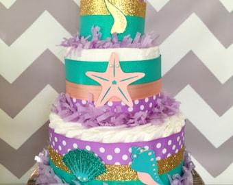 Mermaid Diaper Cake, Under the Sea Baby Shower Centerpiece, Mermaid Baby Shower Decoration