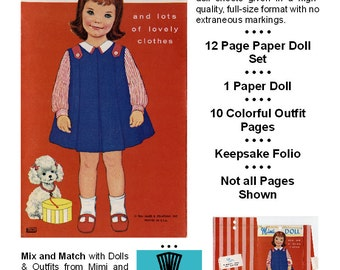 Vintage Paper Dolls _ MIMI Paper Doll _ Paper Toy _ Paper Craft _ Collage Sheet _ PDF Digital Download + BONUS How-to Guide