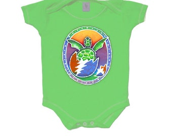 Grateful Dead Baby- Hatching Terrapin Turtle/ 13 Point Lightning Bolt Egg/creeper/romper/one piece/snap up/infant