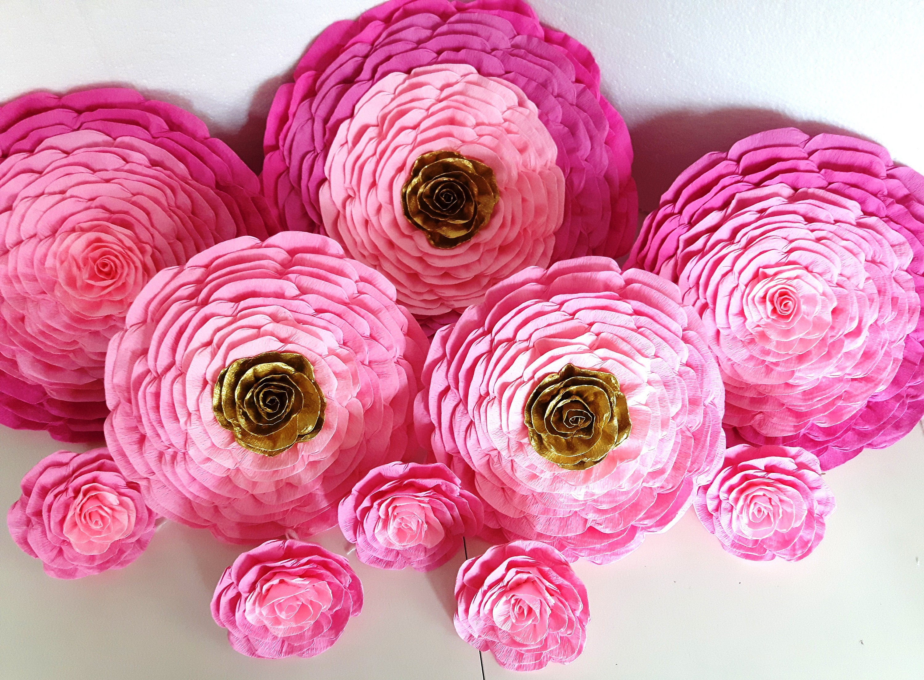 12 giant Paper Flowers Wall Photo backdrop Decor victoria pink