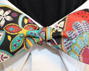 BOHEMIAN DREAMS: Made from Liberty of London color saturated cotton bow tie, handmade for well dressed men and women