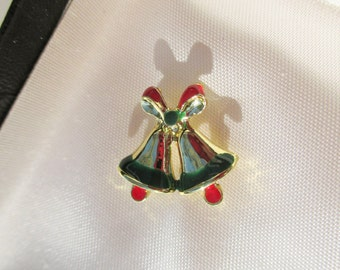 Christmas Bell Stink Pin in box Brooch Pin Vintage xmas jewelry