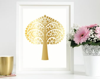 Real gold foil heart tree print / wall art print in white and gold / Nursery decor / home decor / A4 gold foil print