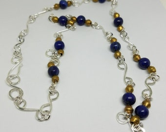 Lapis Lazuli with Hand crafted Chain