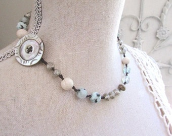 Buttoned Up! - artisan Boho jewelry, knotted necklace, sky blue, aqua, macrame necklace, mixed gemstone necklace, antique button, blue