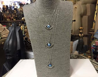Egyptian Evil Eye CZ Stainless Steel Silver Necklace Made In Egypt