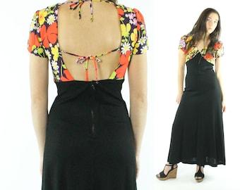 70s Maxi Dress Floral Sundress Deep V Open Back Short Sleeves Sleeveless Black Orange Vintage 1970s XS X-Small Hippie Boho Festival