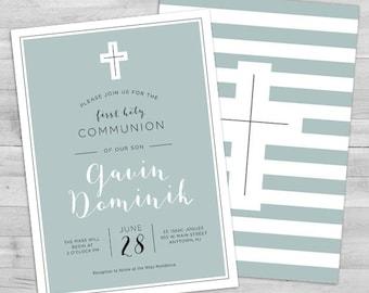 EDITABLE Communion Invite Boy First Communion Invitation 1st