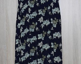 Vintage Long Dress, Navy blue Dress, Summer Floral Dress