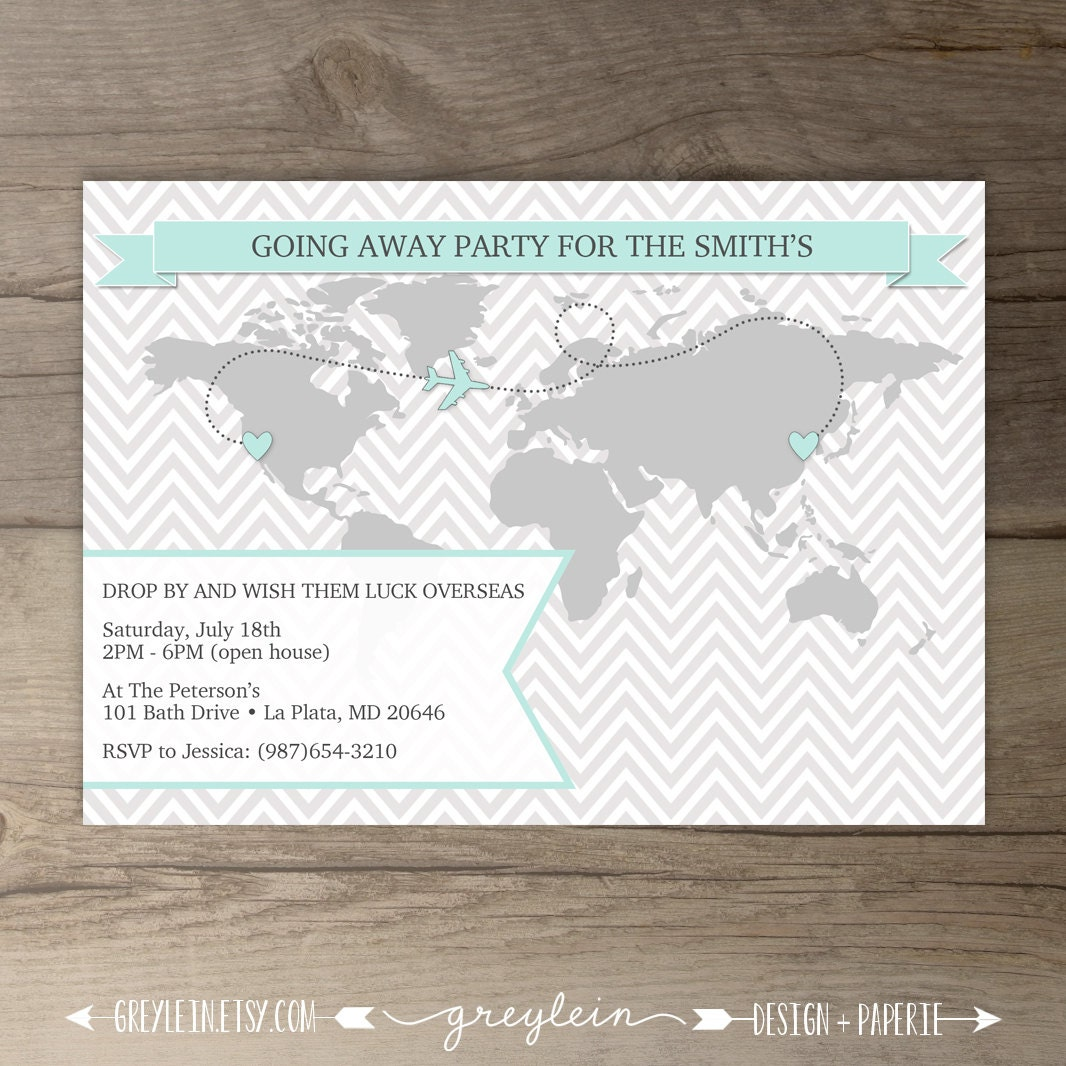 Going Away Party Invitations / World map Goodbye Party Invites