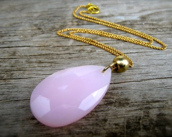 Necklace. Pink Pendant Necklace. Pink Necklace. Handmade Necklace. Pastel Pink Gold Chain Necklace. Vintage Upcycled Shabby Chic Necklace.