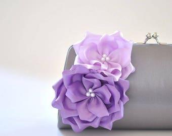 Gray and Shades of Purple / Bridal clutch / Bridesmaid clutch / Wedding clutch/ Prom clutch / Custom clutch