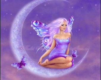Lavender Moon Fairy Art Print Fantasy Art